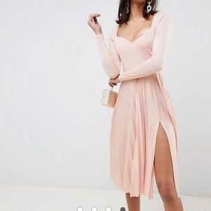 ASOS DESIGN sweetheart neck pleated midi dress